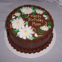 Chocolate Daisies Almond cake w/ chocolate BC, BC flowers