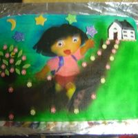 "Dora This is my first air brush cake. My friend helped me make stecils from the party plates for ""Doda"" as my 2yr old whose cake it..."
