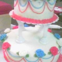 American Wedding This was my final cake for course 3. Its covered and decorated in bc. I ran out of time to finish this cake in class so my borders are...