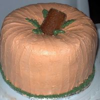 Pumpkin I got this idea from a magazine. Its two Bunt cakes on top of one another. Covered in Whipped Icing. I should have put a face on it.