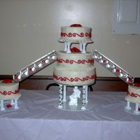 Red/white Wedding Cake This was my 1st wedding cake. Its covered in bc icing.