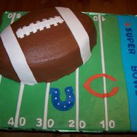 Super Bowl Xli Devils Food Cake w/Chocolate BC icing. Cake board and accents MMF. So much fun!