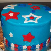 Memorial Day BC w/MMF accents. Very fun cake to do w/leftover icing and cake batter!