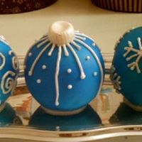 Christmas Ornament Made in ball pan, two halves sandwiched together with bc and then covered in fondant. Details in RI.