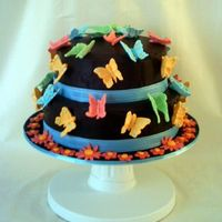 Butterflies And Chocolate Choc cake covered in ganache and RI run uot butterflies. Heavily influenced by Peggy Porschen!