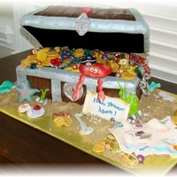 Treasure Chest RKT lid, the rest is covered in buttercream, satin ice and lots of gumpaste pieces and store bought candy.