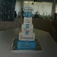 "Bridal Shower Cake Created For Shannon This was designed to match favors of ""Something old...new ...borrowed ...blue"""
