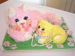 Mother Cat And Kitten I made this for a Mother's Day school cake competition with my four-year-old daughter. We had lots of fun, and all her friends liked...