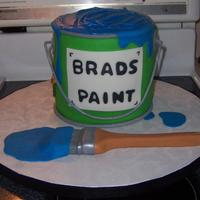 Paint Can This was a cake done for a dinner rehersal for the groom.My mom, sister and I worked on it together.