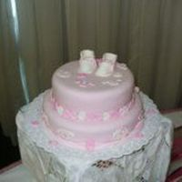 A Baby Shower Cake ONE CAKE OF VANILLA AND THE OTHER OF CHOCOLATE FOR A GIRLBABY SHOWER.