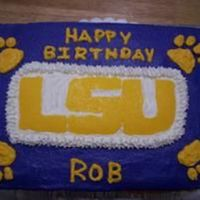 "Gooo Tigers!   Made this cake for my supervisor. He is an extreme LSU fan! It's a Butter Pecan cake with BC. The ""LSU"" is my first FBCT."