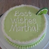 "Martha's Margarita Key Lime cake with BC. Lime is fondant and the ""salt on the rim"" is rock candy. TFL!"