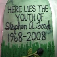 Steve's 40Th Another tombstone! BC with fondant accents - TFL!