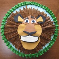 Austin's Alex The Lion   This was a WASC frosted in bc; Alex's face is fondant and his mane is bc. I just realized that I forgot his whiskers - TFL!