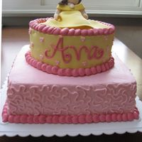 Ava's Princess Belle For a little girl who loves Princess Belle's 2nd birthday. Chocolate cake frosted in bc; Belle is made of 50/50 gumpaste and fondant...