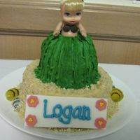 Logan's Hula Girl   This was the smash cake that went with a Luau Pig cake. BC with fondant and gumpaste accents, and Nilla Wafer sand - TFL!