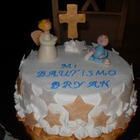 Baptism Cake for my new godson on the day of his baptism. Creamy frosting for cake and gumpaste accesories. TFL!