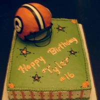 "Helmet- Hs Football 11x15 sheet cake-1/2 choc sour cream w/ choc fudge filling, 1/2 WASC w/ vanilla almond SMBC. Helmet from 6""sports ball pan- carved in..."