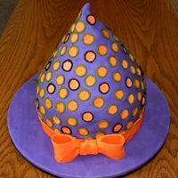 "Witch's Hat Girl picked the colors- Birthday on Halloween. One 9"" layer, and a recipe & 1/2 in two different sized mixing bowls- stacked &..."