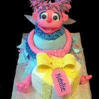 "Abby Cadabby Made for a friends daughter. Head is RKT covered in fondant and hair is royal. Body was carved from 2 8"" and 1 6' cakes. Present..."