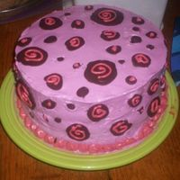Polka Dot Cake this cake was inspired (sp?) by a BMH cake. It's a chocolate cake iced in butter cream with chocolate transfers thanks for looking -...