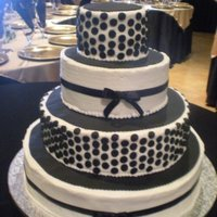 Black And White Wedding Cake Buttercream icing with fondant dots. The bride gave me a photo and ask for me to duplicate it.