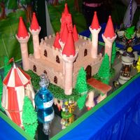 Shrek's Castle My son loves Shrek's movies so much, I decided to make the movie's castle for his 3rd birthday party. I used Wilton castle cake...
