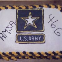 Army Cake For My Hubby's Work. I mad this cake for my husbands work. It's yellow cake with buttecream icing and a royal icing transfer.