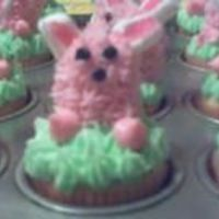 Easter Bunny Cupcakes. I made these for my daughters class. They are mini cupcakes with buttercream icing. The middle of the bunny is a rainblow egg.