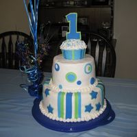 1St Birthday Cake Made this for my son's 1st bday. It frosted in BC and has fondant accents. The number 1 is also made out of fondant. The top is a...