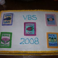 Vacation Bible School Made this for Vactaion Bible School. They had a garden/growing theme. The logos are hand painted on fondant.