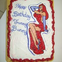 Jessica Rabbit Frozen Buttercream Transfer with Jessica Rabbit. The dress was made with red sparkles to give the effect.