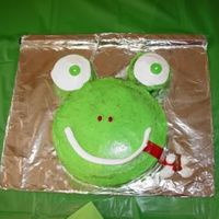 Frog Cake My 5 yr old and I came up with this design complete with tootsie roll fly.