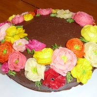 Spring Cake With Ranunculus And Poppies Flowers piped with #101 and #104 tips. I used the Australian Women's Weekly buttercream recipe - which can only be used when the...