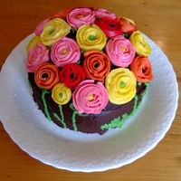 Buttercream Ranunculus Cake My second attempt at a ranunculus cake, a couple of years after the first. I used a #104 tip for the petals. And I used a freezer bag with...