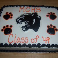 Panther Reunion Cake Made for a reunion at our local high school. Carrot cake with buttercream icing. Panther is a FBCT.