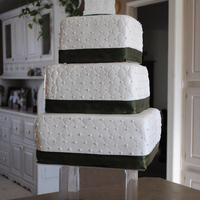 Square Wedding Cake With Sugar Pearls