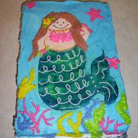 Mermaid strawberry cake with buttercream icing and fondant icing. Thanks to CC for idea.