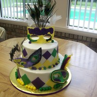 Yasmani's Mardi Gras Birthday  My 14 year old granddaughter wanted a Mardi Gras cake for her birthday in July. Her 16 year old sister helped make the cake by rolling all...