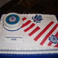 Coast Guard Day Buttercream icing, white cake, fondant USCG flag