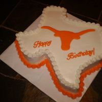 Ut Cake 11x15 cake carved into shape of Texas. Buttercream icing.