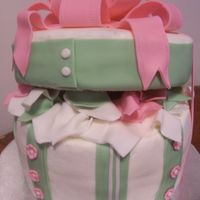 Hat Box Cake Chocolate cake with french vanilla pudding filling. 9 inch rounds - 3 on bottom, 1 on top. Fondant bow and decoartions. This was a...