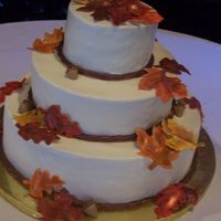 Fall Wedding Pic is a little blurry, but here's my fall wedding pic. Fondant leaves painted with wilton colors. Clay gun made the roap boarder.
