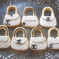 Chanel Bags NFSC decoated with Satin Ice and royal icing details.