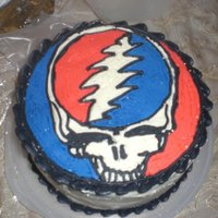 Grateful Dead Cake this was my first attempt at a frozen buttercream transfer. (i actually had to do it 4 times till i finally figured it out)