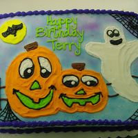 Halloween Birthday 1/2 sheet all buttercream and airbrush. Done by my daughter. She got her inspiration from a cake done by Sweetpea8. I think both cakes are...