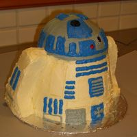 R2D2 3D cake carved into r2d2 shape and then covered in buttercream