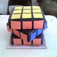 80's Theme Birthday Cake (Rubik's Cube) This is a three tier cake. Each tier is two layers and each layer is cover and decorated in fondant.