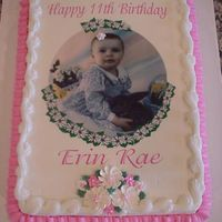 Erin_Rae.jpg Just a regular sheet cake for a little girl's 11th birthday--Daddy wanted his favorite picture of her on the cake! Buttercream icing...