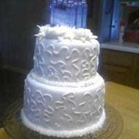 Yw Wedding Night Cake White cake with strawberry filling. MM Fondant.